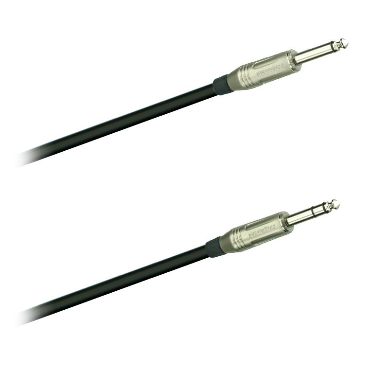 Audio-kabel, Jack mono 6,3  ACPM-GN- Jack stereo 6,3mm Amphenol  ACPS-GN   10m